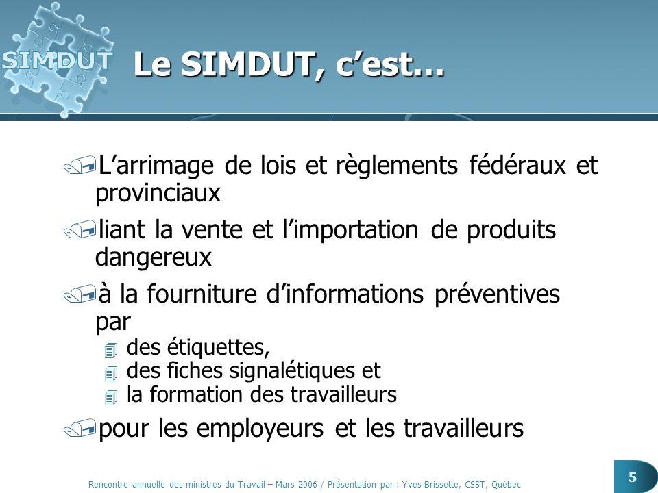 Rencontre annuelle des ministres du Travail – Mars 2006 / Présentation par : Yves Brissette, CSST, Québec 5 Le SIMDUT, cest… /Larrimage de lois et règ