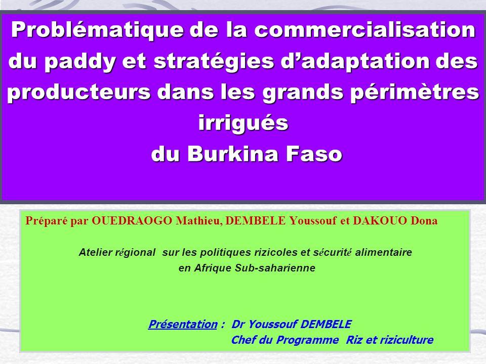 Problématique de la commercialisation du paddy et stratégies dadaptation des producteurs dans les grands périmètres irrigués du Burkina Faso Préparé p