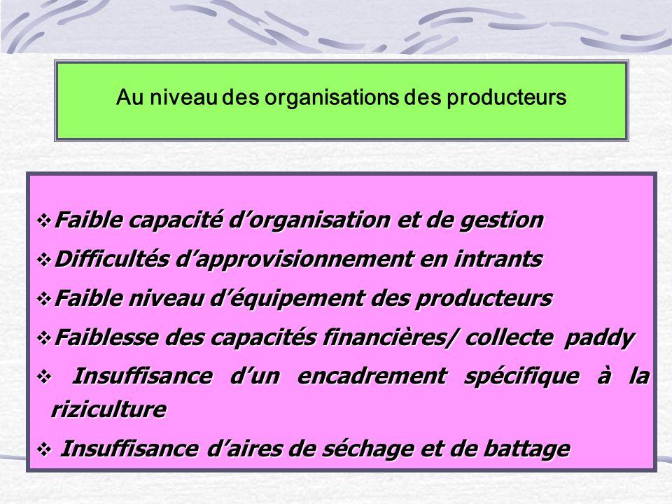 Au niveau des organisations des producteurs Faible capacité dorganisation et de gestion Faible capacité dorganisation et de gestion Difficultés dappro