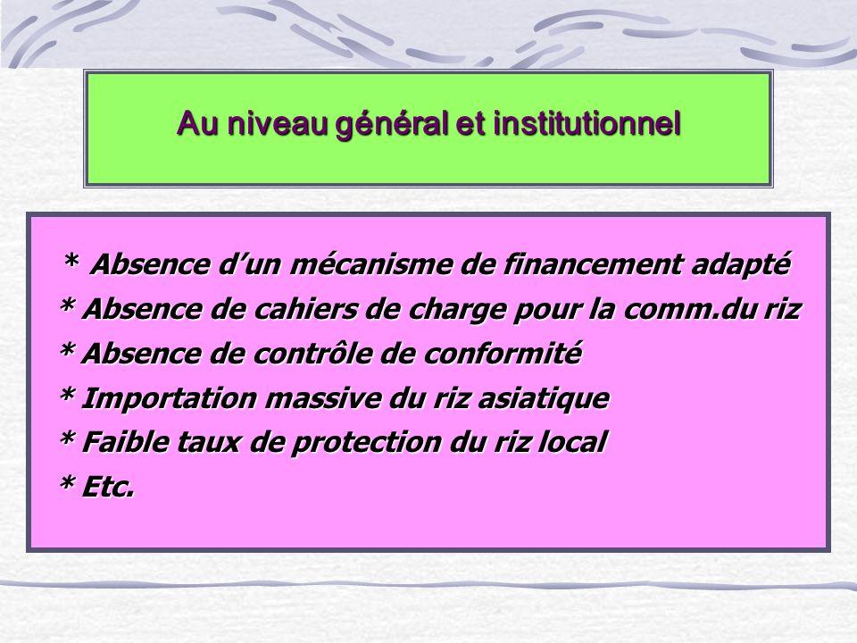 Au niveau général et institutionnel * Absence dun mécanisme de financement adapté * Absence dun mécanisme de financement adapté * Absence de cahiers d