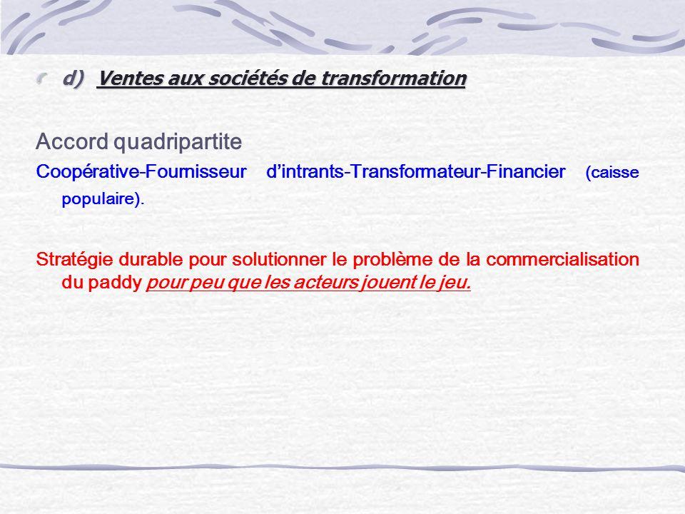 d) Ventes aux sociétés de transformation Accord quadripartite Coopérative-Fournisseur dintrants-Transformateur-Financier (caisse populaire). Stratégie