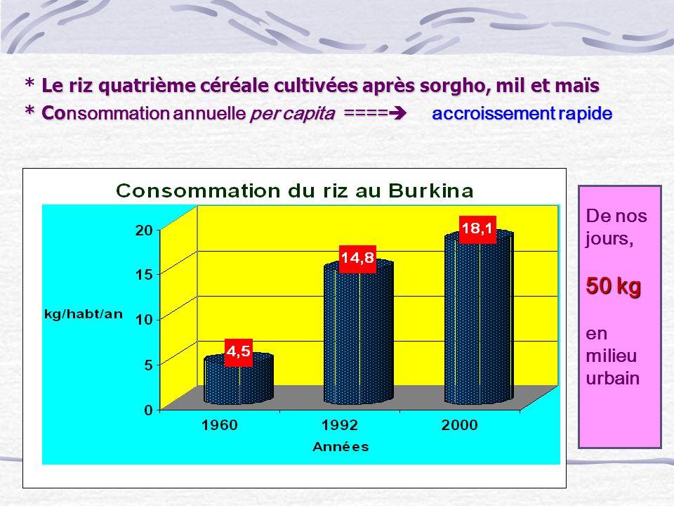 Le Plan dactions pour la filière riz (1977 ) Aménagements, organisation des producteurs o le Comité Interprofessionnel de Riz du Burkina (CIR-B), o lObservatoire national de riz du Burkina o les unions provinciales de producteurs de riz o le réseau de producteurs semenciers Le Projet Riz Pluvial (2001) Accroissement de la production rizicole par laugmentation des superficies aménagées de bas fonds La Société de Promotion des Filières Agricoles (2001) : Promotion des filières agricoles en soutenant la production par des crédits en intrants et en achetant la production Le Programme spécial pour la Sécurité Alimentaire (1995) : Le riz, culture cible Diffusion de paquets technologiques mis au point par lINERA.