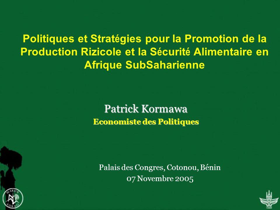 Politiques et Strat é gies pour la Promotion de la Production Rizicole et la S é curit é Alimentaire en Afrique SubSaharienne Patrick Kormawa Economiste des Politiques Palais des Congres, Cotonou, Bénin 07 Novembre 2005
