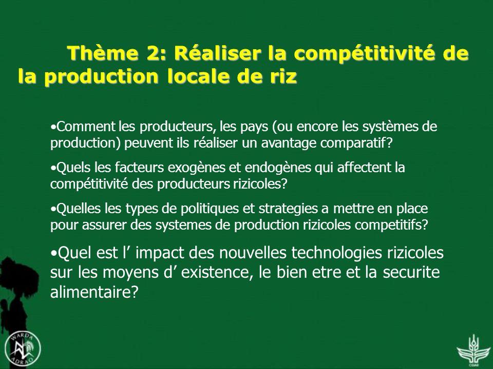 Thème 2: Réaliser la compétitivité de la production locale de riz Comment les producteurs, les pays (ou encore les systèmes de production) peuvent ils réaliser un avantage comparatif.