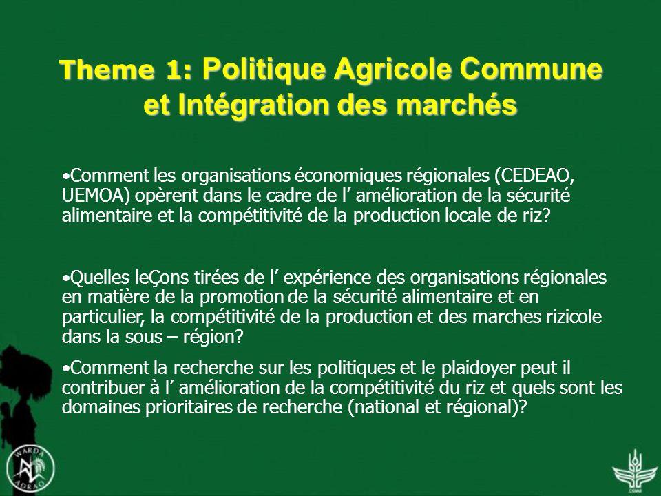 Theme 1: Politique Agricole Commune et Intégration des marchés Comment les organisations économiques régionales (CEDEAO, UEMOA) opèrent dans le cadre de l amélioration de la sécurité alimentaire et la compétitivité de la production locale de riz.