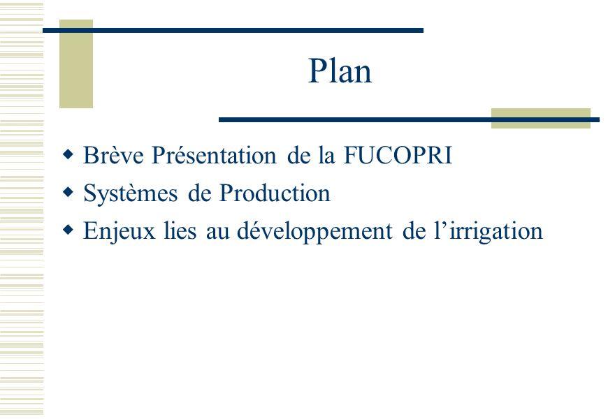 Plan Brève Présentation de la FUCOPRI Systèmes de Production Enjeux lies au développement de lirrigation