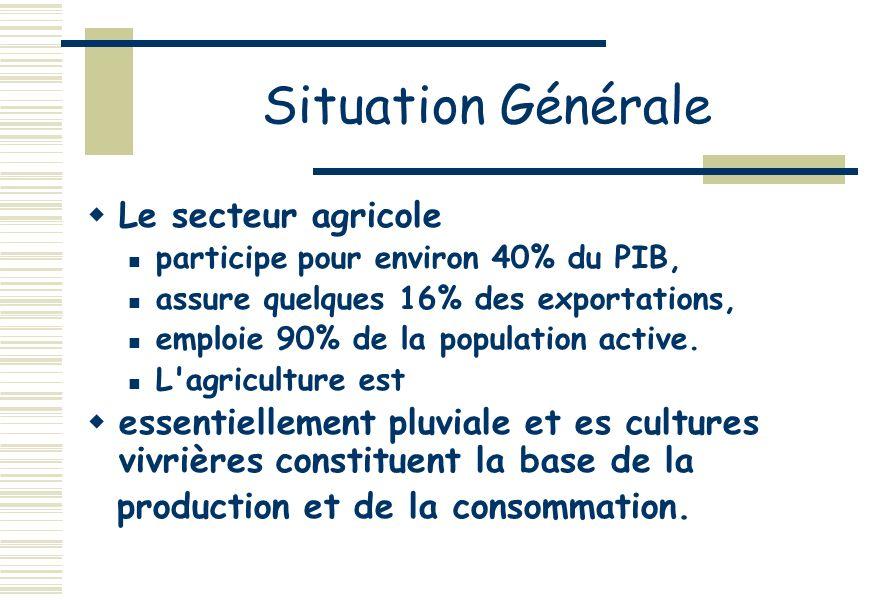 Situation Générale Le secteur agricole participe pour environ 40% du PIB, assure quelques 16% des exportations, emploie 90% de la population active.