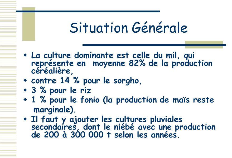 Situation Générale La culture dominante est celle du mil, qui représente en moyenne 82% de la production céréalière, contre 14 % pour le sorgho, 3 % pour le riz 1 % pour le fonio (la production de maïs reste marginale).