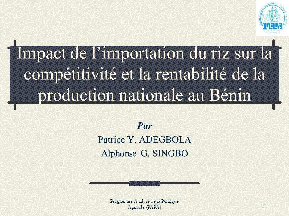 Programme Analyse de la Politique Agricole (PAPA) 1 Impact de limportation du riz sur la compétitivité et la rentabilité de la production nationale au
