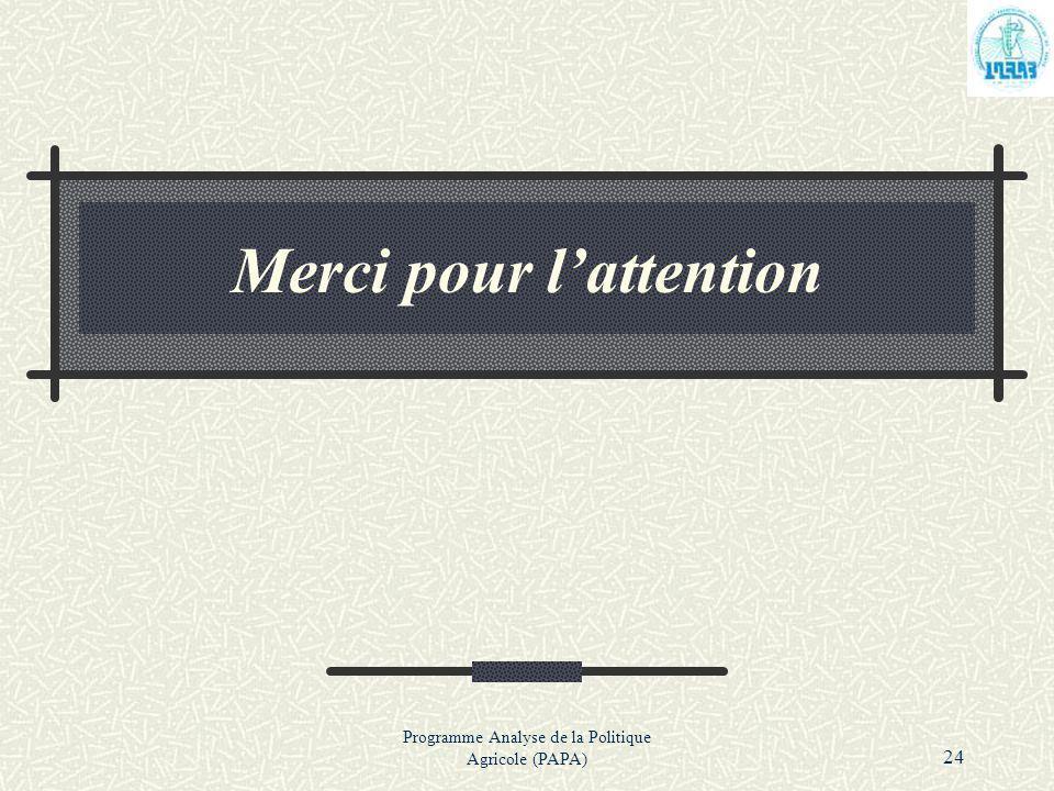 Programme Analyse de la Politique Agricole (PAPA) 24 Merci pour lattention