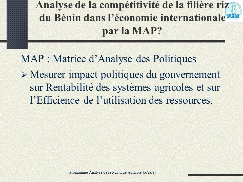 Programme Analyse de la Politique Agricole (PAPA) Analyse de la compétitivité de la filière riz du Bénin dans léconomie internationale par la MAP? MAP