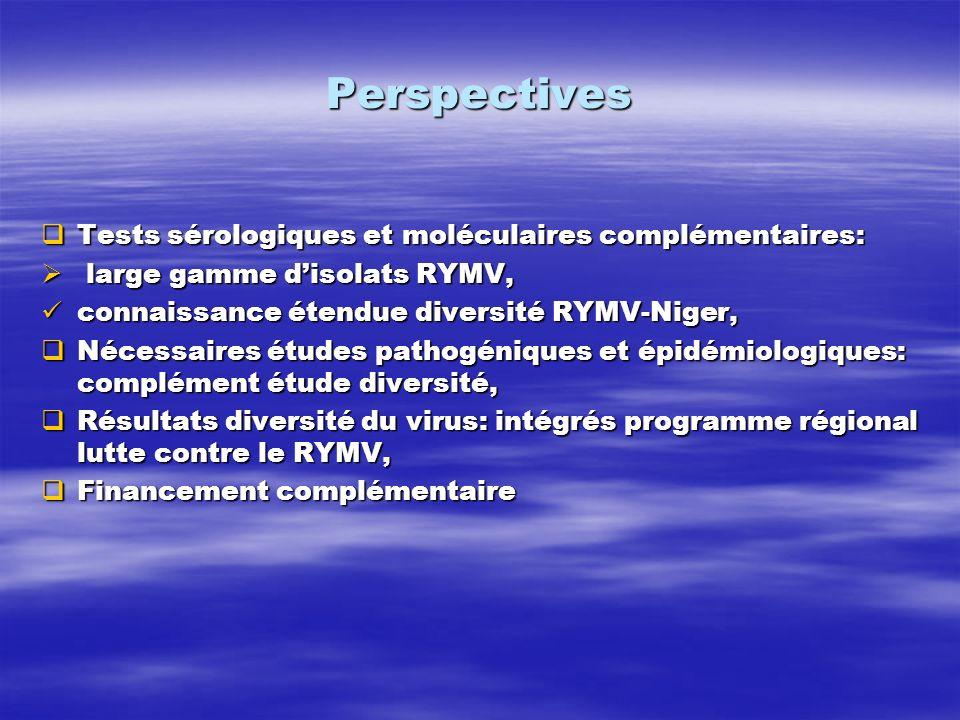 Perspectives Tests sérologiques et moléculaires complémentaires: Tests sérologiques et moléculaires complémentaires: large gamme disolats RYMV, large