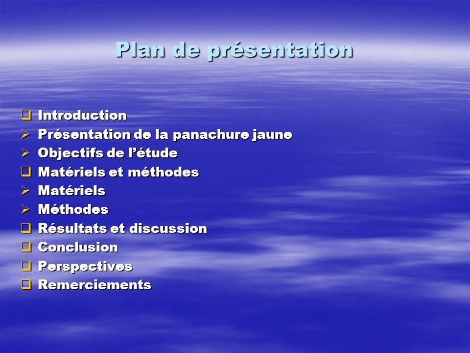 Plan de présentation Introduction Introduction Présentation de la panachure jaune Présentation de la panachure jaune Objectifs de létude Objectifs de