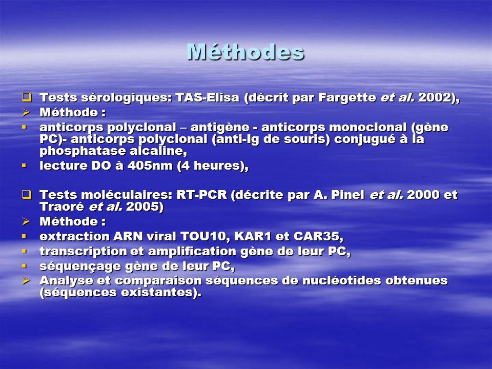 Méthodes Tests sérologiques: TAS-Elisa (décrit par Fargette et al. 2002), Tests sérologiques: TAS-Elisa (décrit par Fargette et al. 2002), Méthode : M