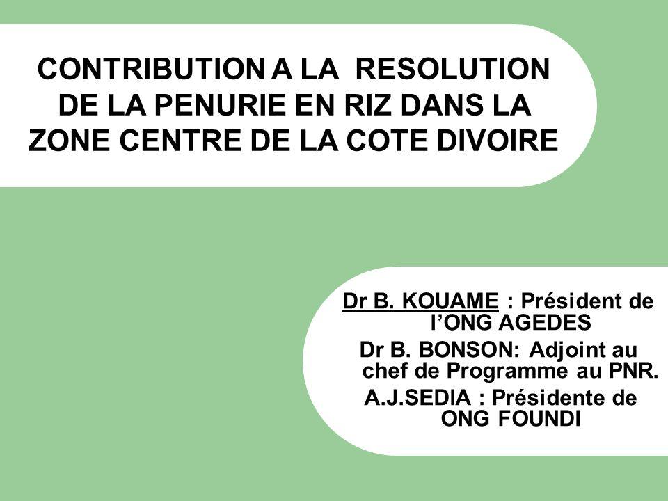 CONTRIBUTION A LA RESOLUTION DE LA PENURIE EN RIZ DANS LA ZONE CENTRE DE LA COTE DIVOIRE Dr B. KOUAME : Président de lONG AGEDES Dr B. BONSON: Adjoint