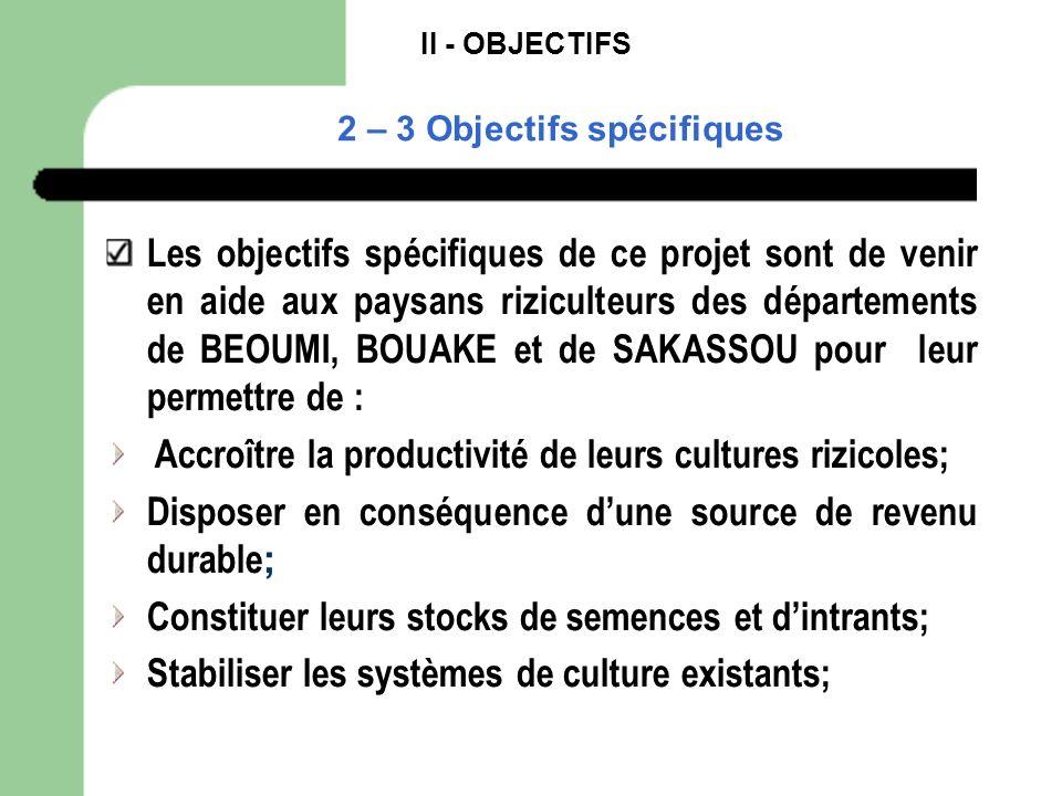 II - OBJECTIFS 2 – 3 Objectifs spécifiques Les objectifs spécifiques de ce projet sont de venir en aide aux paysans riziculteurs des départements de B
