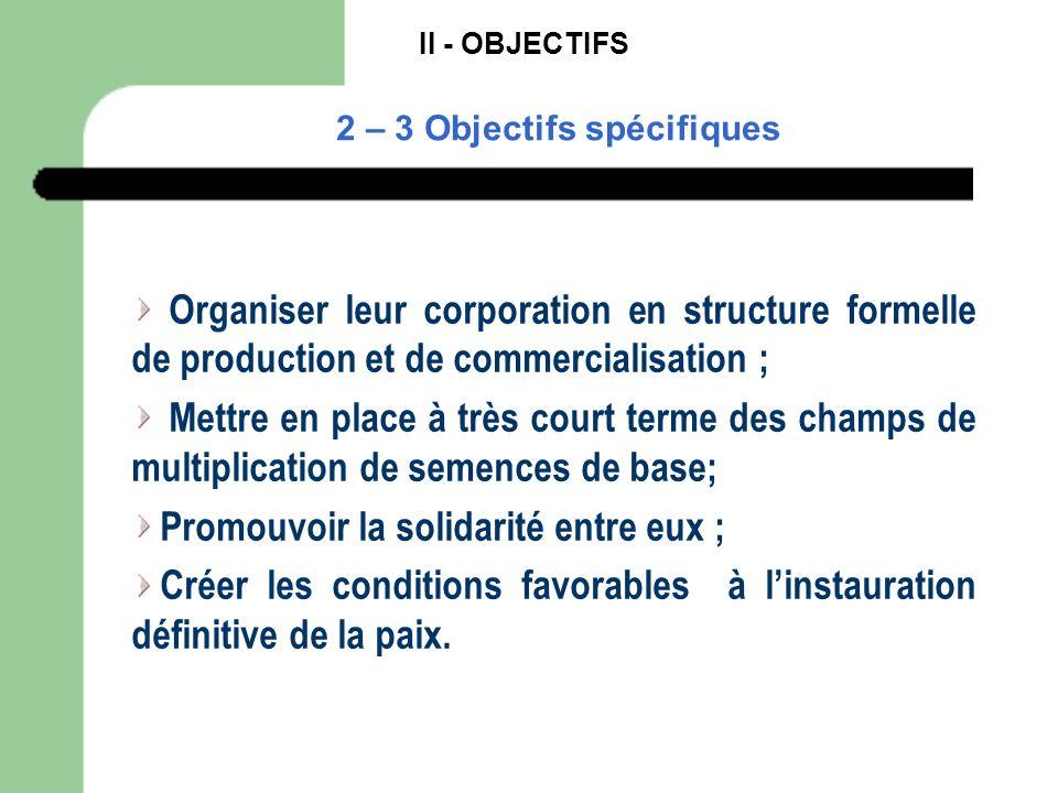 II - OBJECTIFS 2 – 3 Objectifs spécifiques Organiser leur corporation en structure formelle de production et de commercialisation ; Mettre en place à