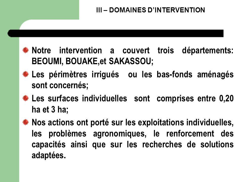 III – DOMAINES DINTERVENTION Notre intervention a couvert trois départements: BEOUMI, BOUAKE,et SAKASSOU; Les périmètres irrigués ou les bas-fonds amé