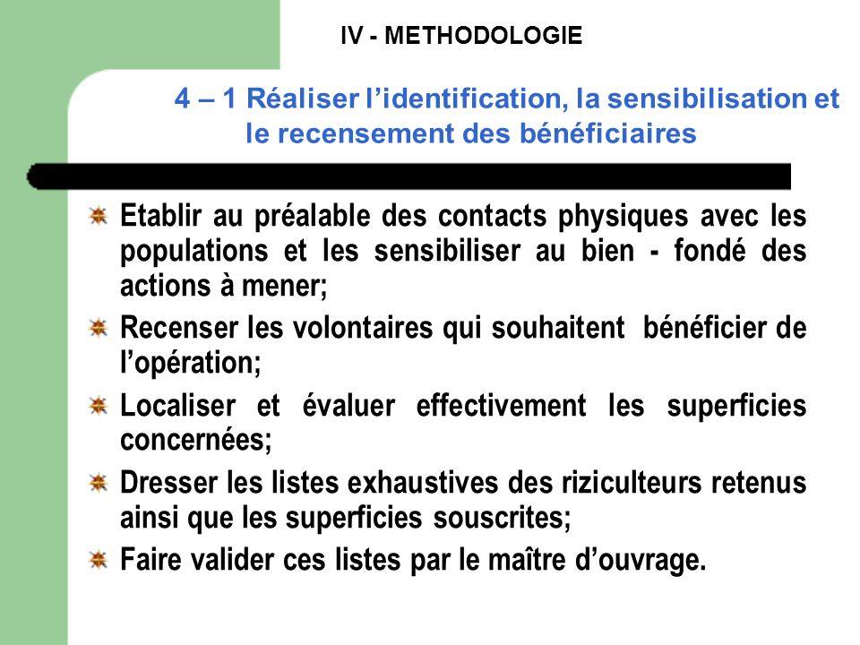 IV - METHODOLOGIE 4 – 1 Réaliser lidentification, la sensibilisation et le recensement des bénéficiaires Etablir au préalable des contacts physiques a