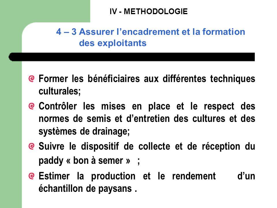 IV - METHODOLOGIE 4 – 3 Assurer lencadrement et la formation des exploitants Former les bénéficiaires aux différentes techniques culturales; Contrôler