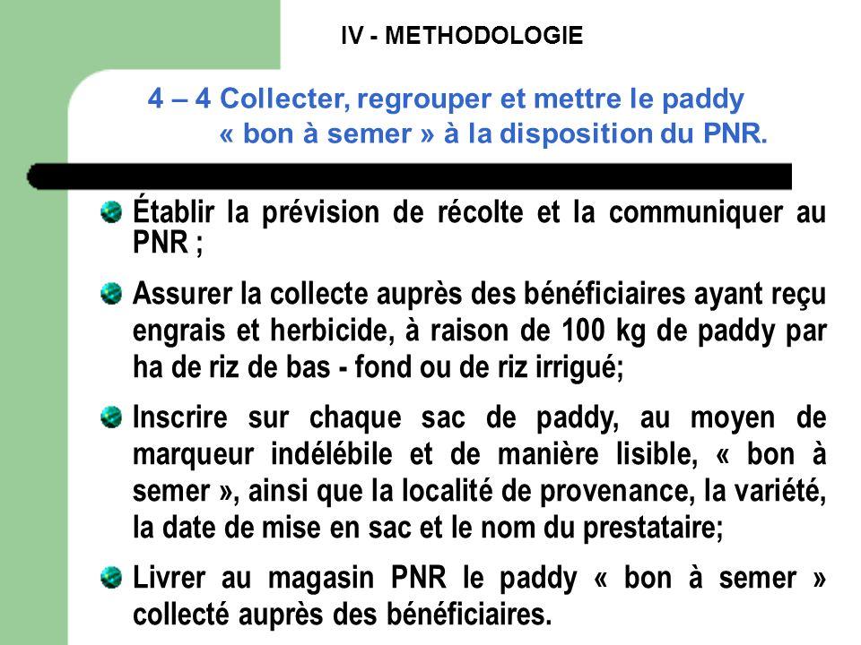 IV - METHODOLOGIE 4 – 4 Collecter, regrouper et mettre le paddy « bon à semer » à la disposition du PNR. Établir la prévision de récolte et la communi
