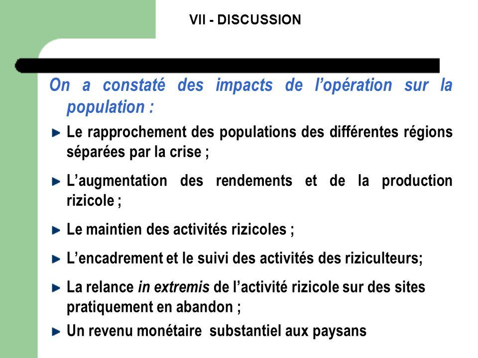 VII - DISCUSSION On a constaté des impacts de lopération sur la population : Le rapprochement des populations des différentes régions séparées par la