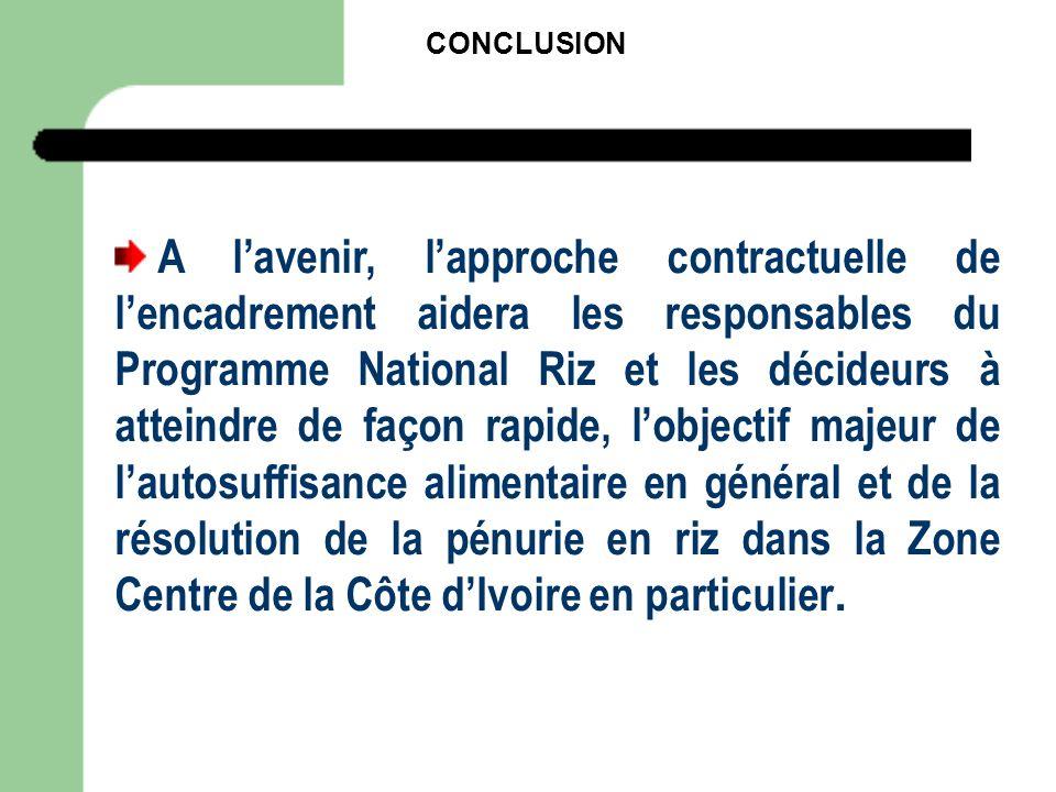 CONCLUSION A lavenir, lapproche contractuelle de lencadrement aidera les responsables du Programme National Riz et les décideurs à atteindre de façon