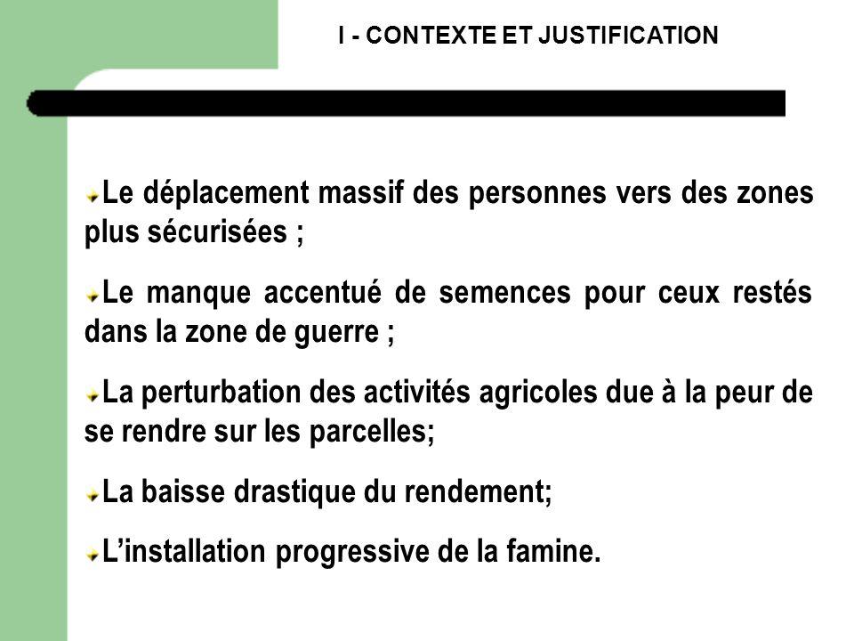 I - CONTEXTE ET JUSTIFICATION Le déplacement massif des personnes vers des zones plus sécurisées ; Le manque accentué de semences pour ceux restés dan