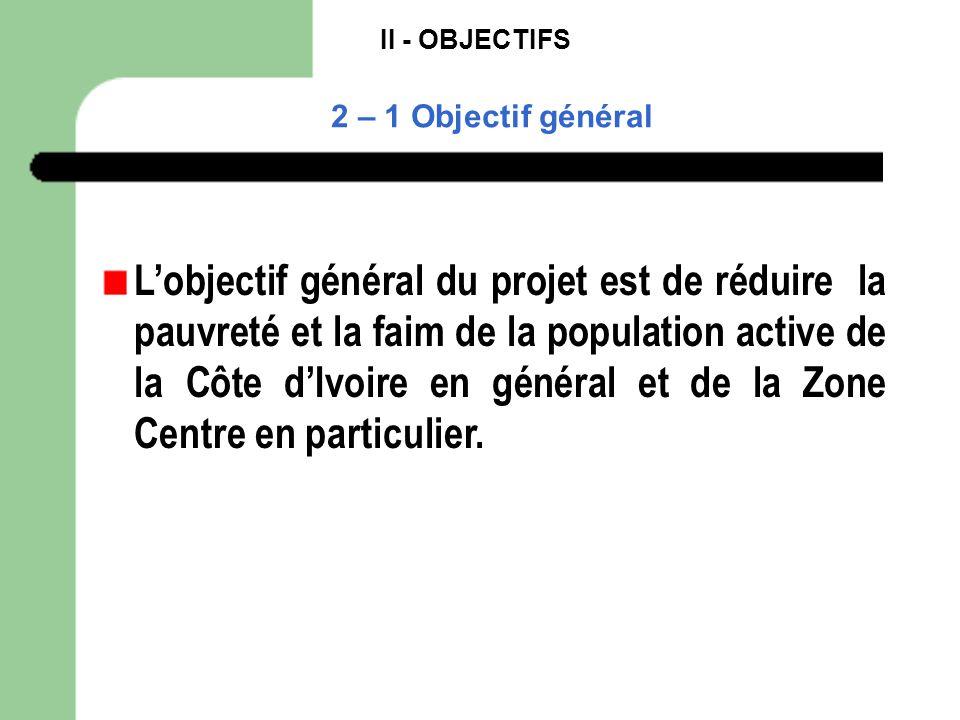 II - OBJECTIFS 2 – 1 Objectif général Lobjectif général du projet est de réduire la pauvreté et la faim de la population active de la Côte dIvoire en