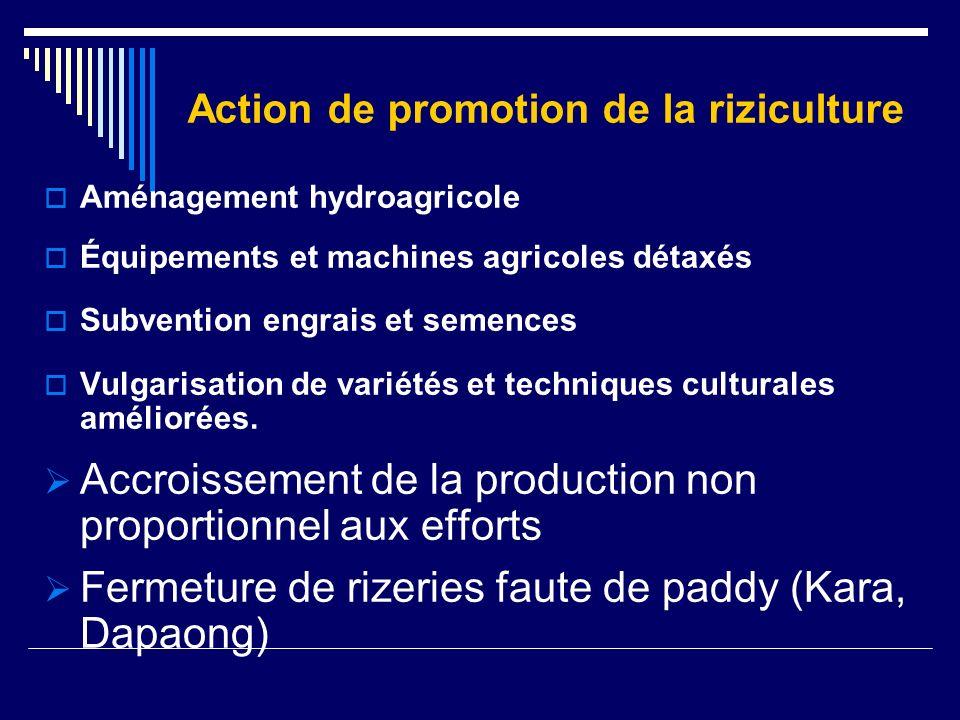 CAUSES : Marché saturé par importation Production locale non compétitive Expérience nouvelle de promotion opération joint-venture de lOSAT avec riziculteurs.