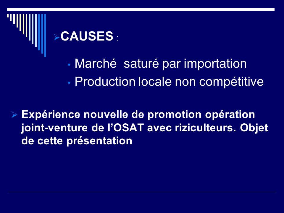 Le crédit OSAT aux riziculteurs est passé de 5 Millions CFA en 2000 à 30 Millions en 2005.