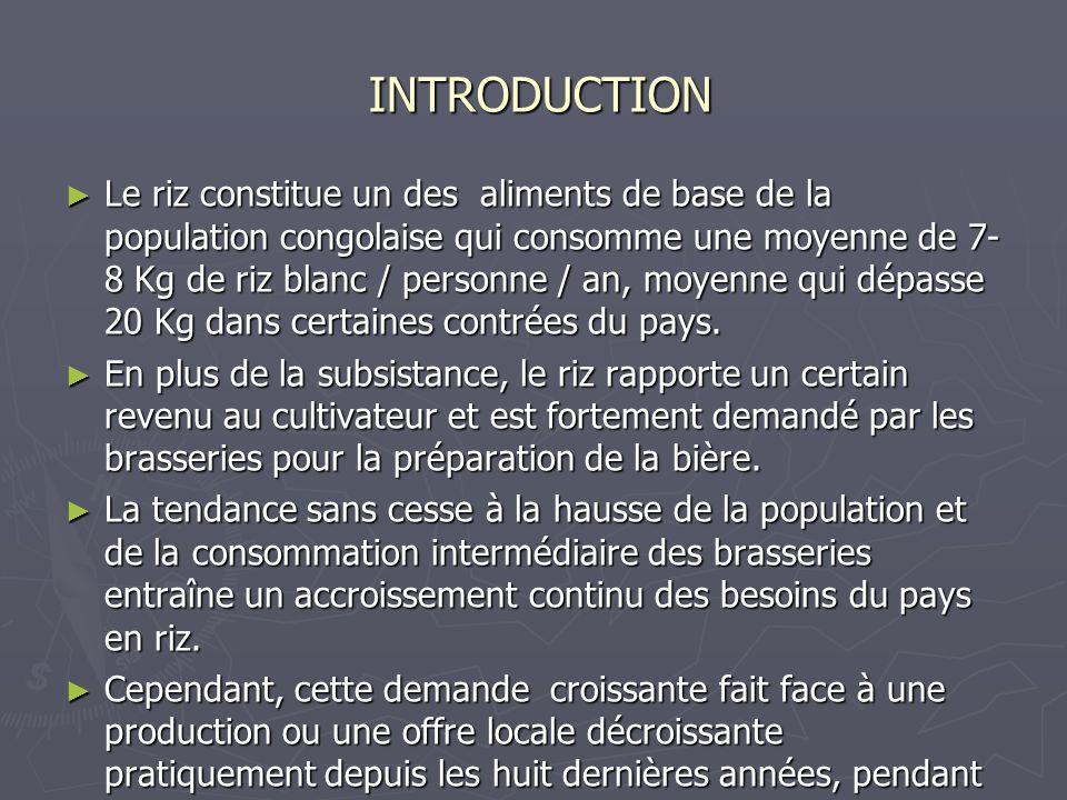 INTRODUCTION INTRODUCTION Le riz constitue un des aliments de base de la population congolaise qui consomme une moyenne de 7- 8 Kg de riz blanc / pers