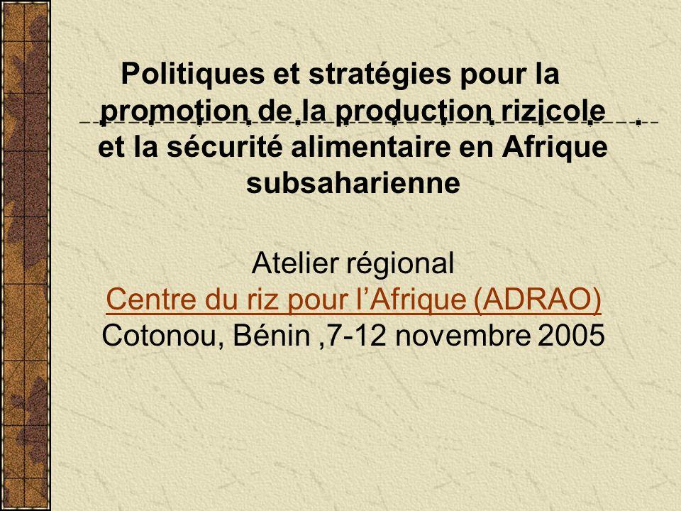 Politiques et stratégies pour la promotion de la production rizicole et la sécurité alimentaire en Afrique subsaharienne Atelier régional Centre du riz pour lAfrique (ADRAO) Cotonou, Bénin,7-12 novembre 2005 Centre du riz pour lAfrique (ADRAO)