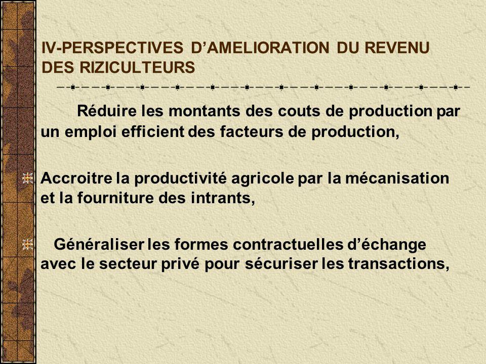 IV-PERSPECTIVES DAMELIORATION DU REVENU DES RIZICULTEURS Réduire les montants des couts de production par un emploi efficient des facteurs de production, Accroitre la productivité agricole par la mécanisation et la fourniture des intrants, Généraliser les formes contractuelles déchange avec le secteur privé pour sécuriser les transactions,