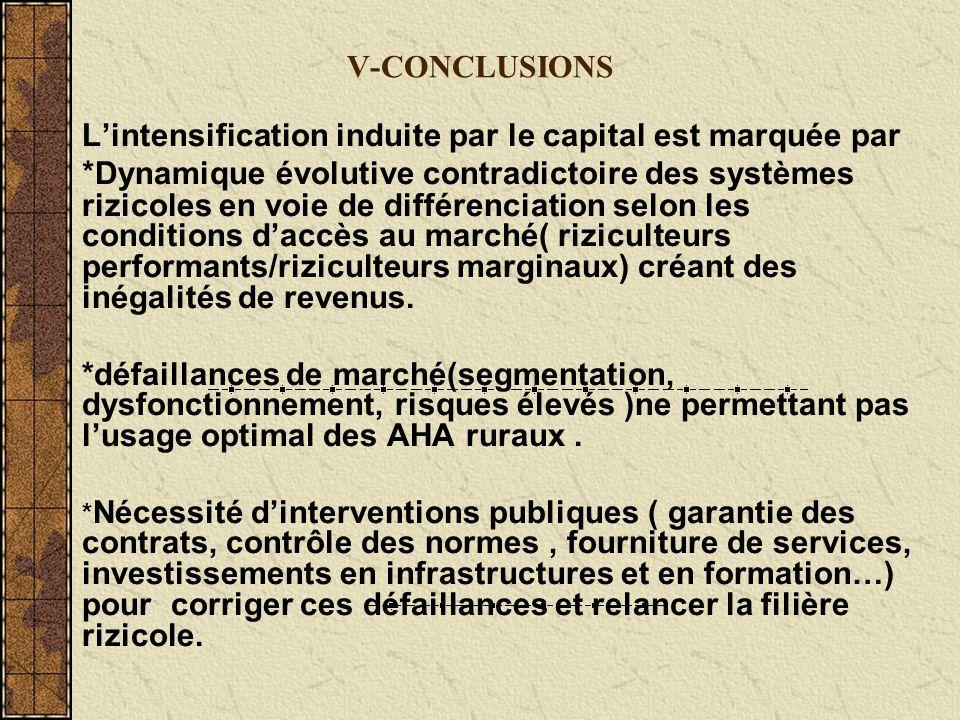 V-CONCLUSIONS Lintensification induite par le capital est marquée par * Dynamique évolutive contradictoire des systèmes rizicoles en voie de différenciation selon les conditions daccès au marché( riziculteurs performants/riziculteurs marginaux) créant des inégalités de revenus.