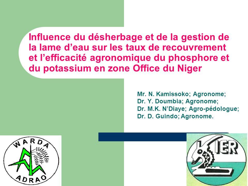 Influence du désherbage et de la gestion de la lame deau sur les taux de recouvrement et lefficacité agronomique du phosphore et du potassium en zone Office du Niger Mr.