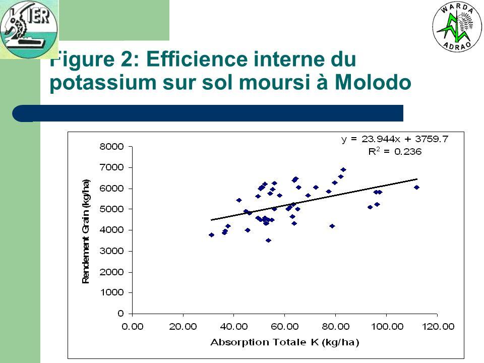 Figure 2: Efficience interne du potassium sur sol moursi à Molodo