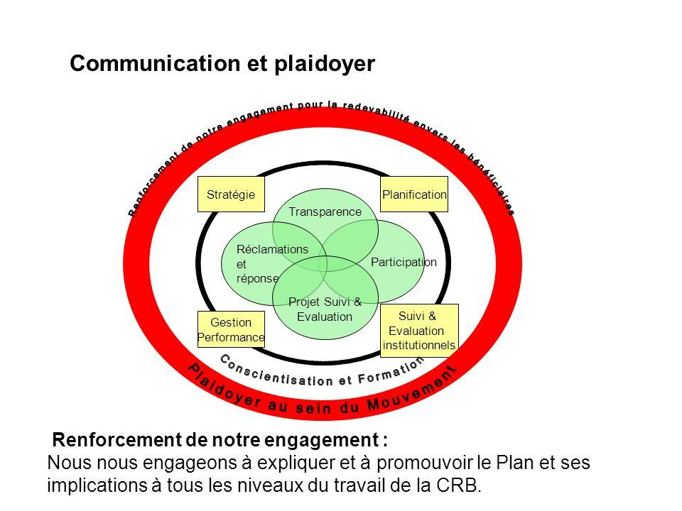 Communication et plaidoyer Renforcement de notre engagement : Nous nous engageons à expliquer et à promouvoir le Plan et ses implications à tous les n