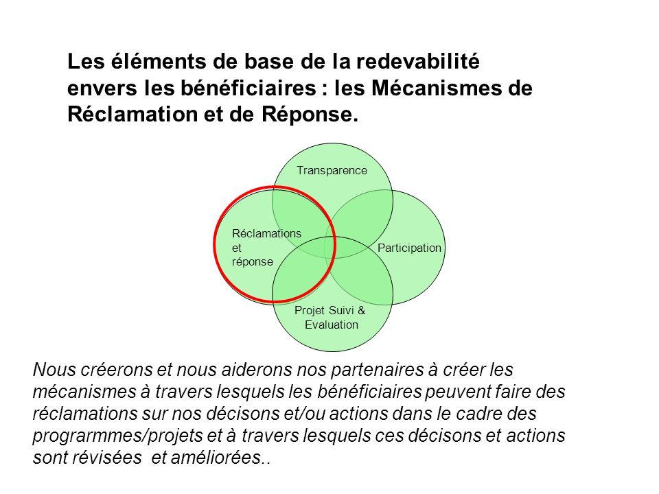 Participation Transparence Réclamations et réponse Projet Suivi & Evaluation Nous créerons et nous aiderons nos partenaires à créer les mécanismes à t
