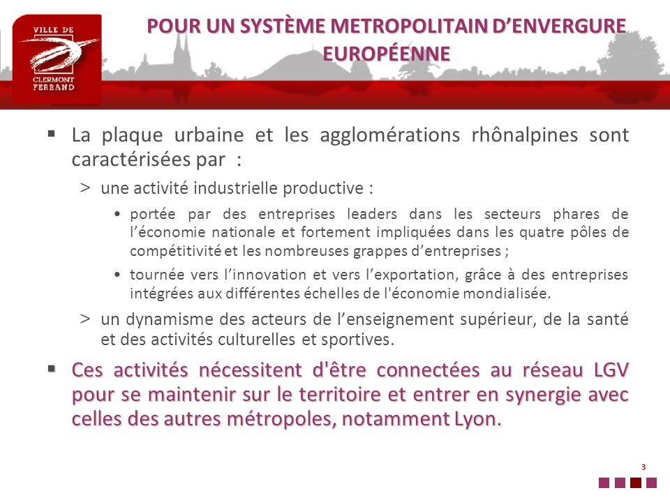 3 POUR UN SYSTÈME METROPOLITAIN DENVERGURE EUROPÉENNE La plaque urbaine et les agglomérations rhônalpines sont caractérisées par : > une activité indu