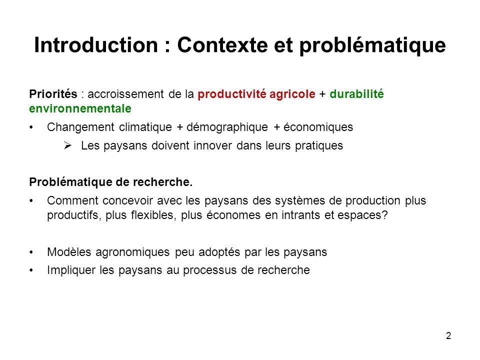 Introduction : Contexte et problématique Priorités : accroissement de la productivité agricole + durabilité environnementale Changement climatique + d