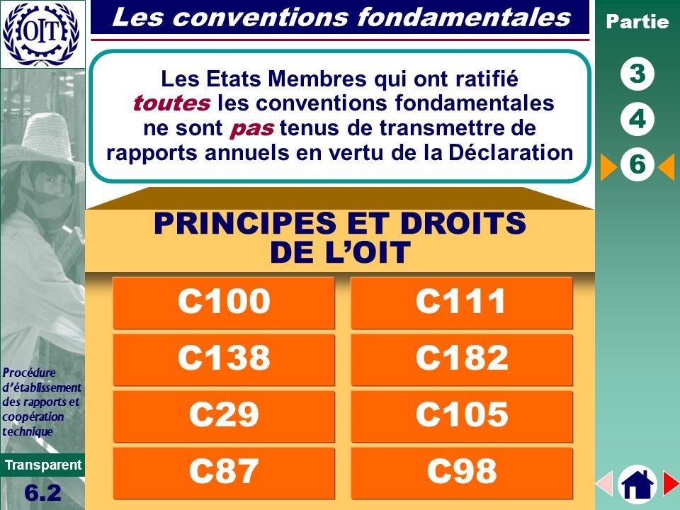 Partie 3 4 6 Transparent Procédure détablissement des rapports et coopération technique Les conventions fondamentales Les Etats Membres qui ont ratifi