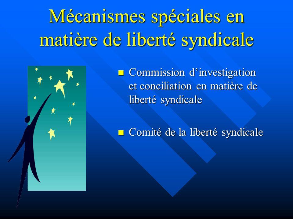 Mécanismes spéciales en matière de liberté syndicale Commission dinvestigation et conciliation en matière de liberté syndicale Comité de la liberté sy