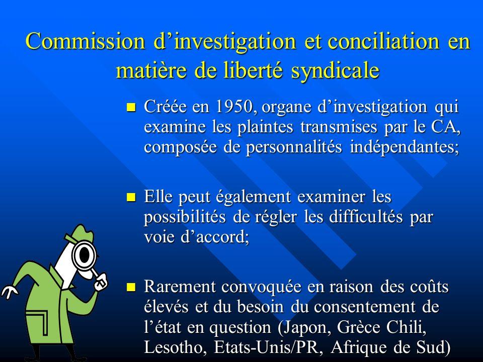Commission dinvestigation et conciliation en matière de liberté syndicale Créée en 1950, organe dinvestigation qui examine les plaintes transmises par