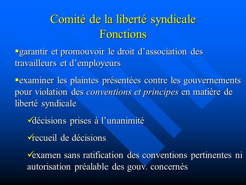 PROCEDURE SPECIALE RELATIVE A LA LIBERTE SYNDICALE COMMISSION DEXPERTS POUR LAPPLICATION DES CONVENTIONS ET RECOMANDATIONS (CEACR) SUIVI PAR LE CLS PLAINTE TRANSMISE AU BITINTERVENTION POSSIBLE POSSIBILITE DE CONTACTS DIRECTS DECISIONS PAR CONSENSUS Approbation PAR CONSEIL DADMINISTRATION SI CONVENTION EST RATIFIEE SI CONVENTION NEST PAS RATIFIEE COMITE DE LA LIBERTE SYNDICALE (CLS) TRAVAILLEURS EMPLOYEURS GOUVERNEMENTS Projet Liberté syndicale/Centre de Turin