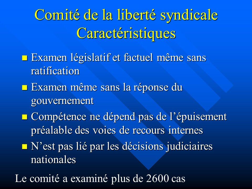 Comité de la liberté syndicale Caractéristiques Examen législatif et factuel même sans ratification Examen législatif et factuel même sans ratificatio