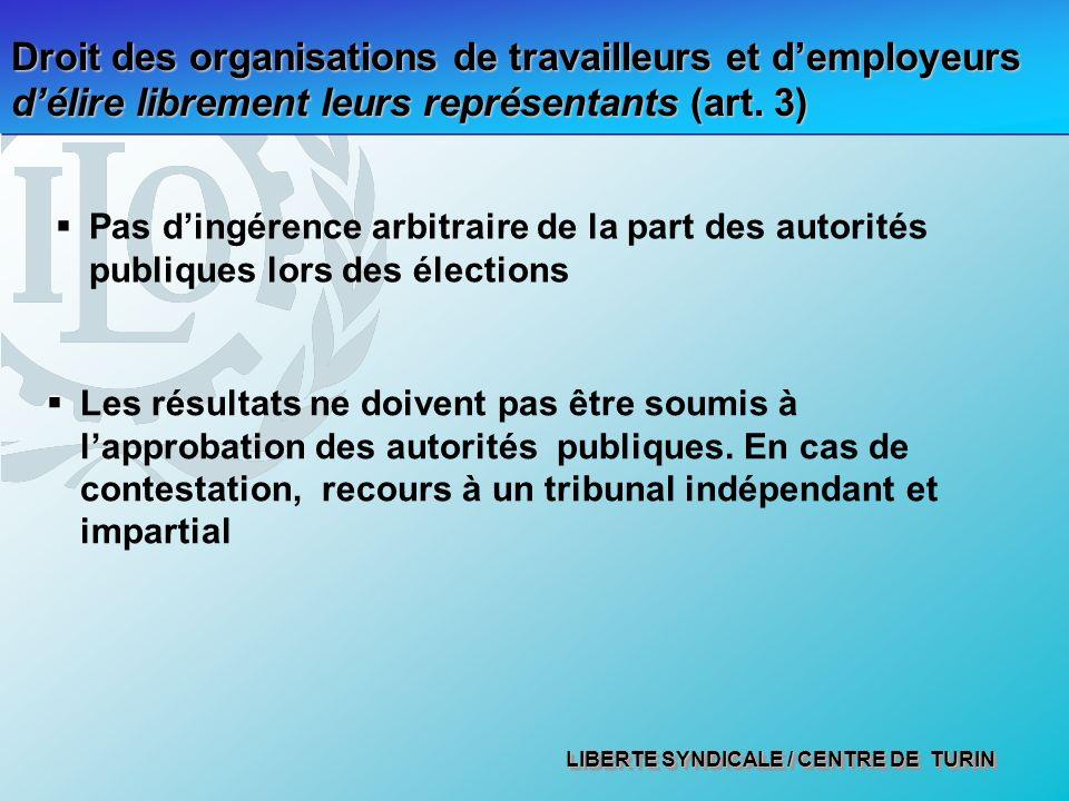 LIBERTE SYNDICALE / CENTRE DE TURIN Droit des organisations de travailleurs et demployeurs délire librement leurs représentants (art.