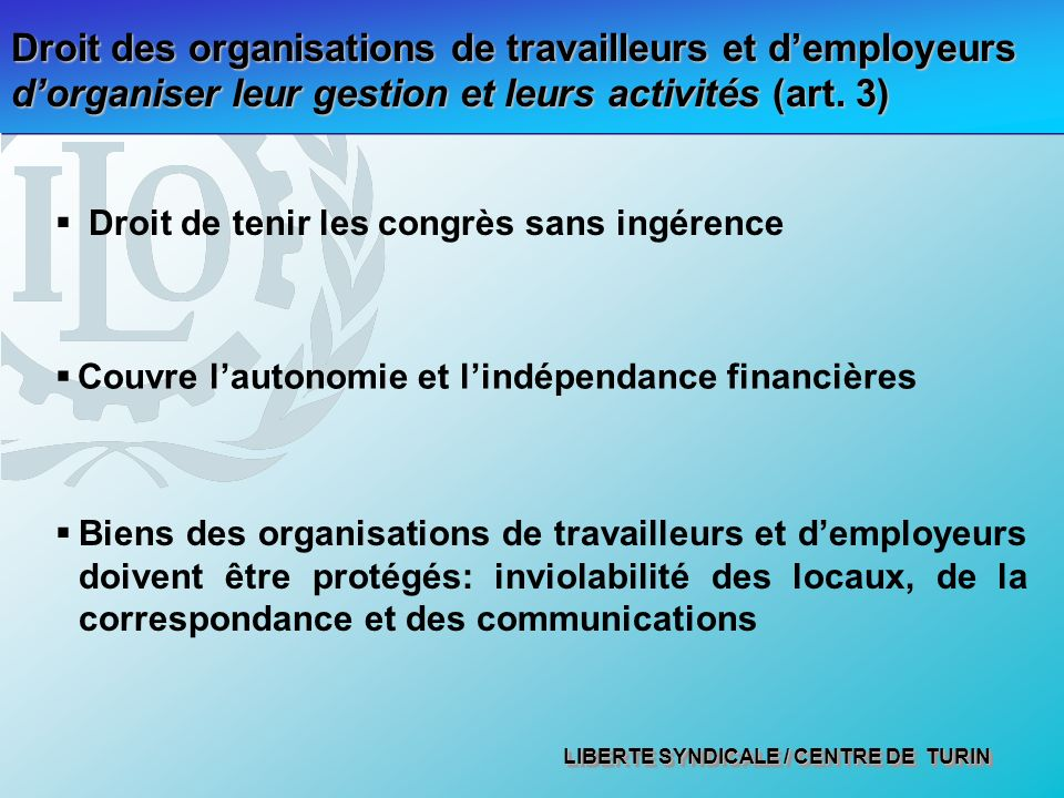 LIBERTE SYNDICALE / CENTRE DE TURIN Droit des organisations de travailleurs et demployeurs dorganiser leur gestion et leurs activités (art.