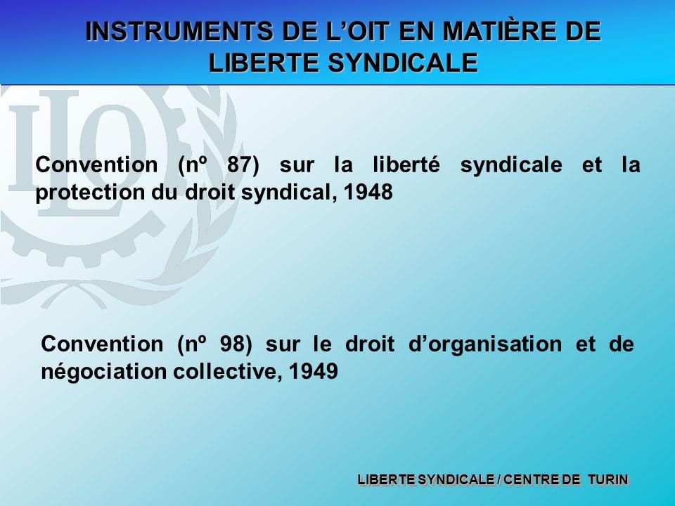 LIBERTE SYNDICALE / CENTRE DE TURIN Convention (nº 87) sur la liberté syndicale et la protection du droit syndical, 1948 INSTRUMENTS DE LOIT EN MATIÈRE DE LIBERTE SYNDICALE Convention (nº 98) sur le droit dorganisation et de négociation collective, 1949