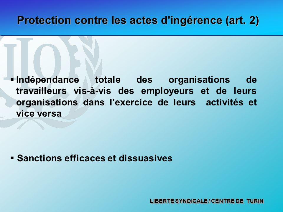 LIBERTE SYNDICALE / CENTRE DE TURIN Protection contre les actes d ingérence (art.